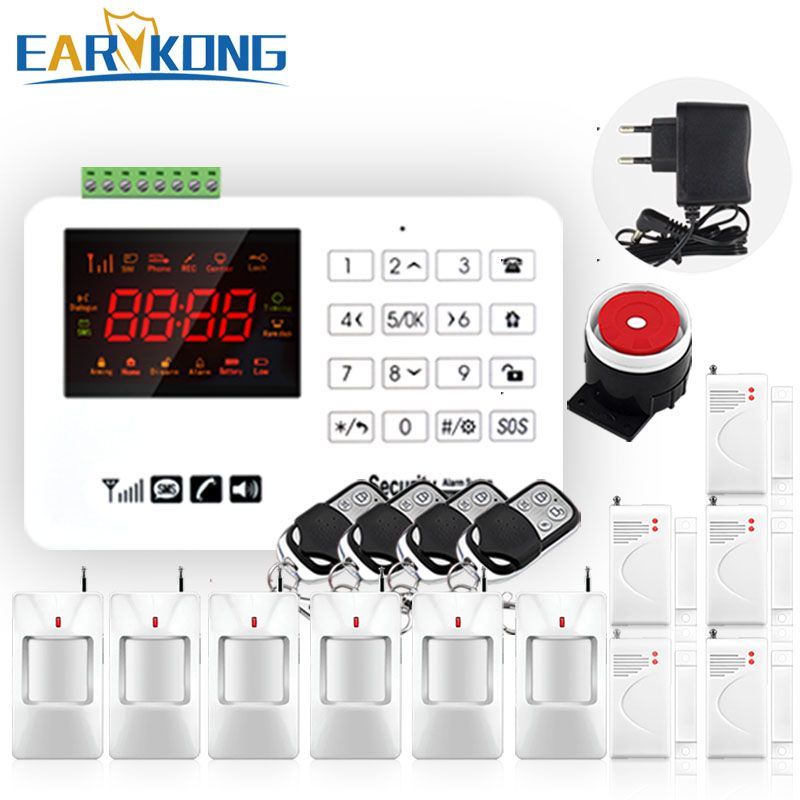 Hot Selling Free Shipping wholesale Wireless GSM Alarm System <font><b>433MHz</b></font> Home Burglar Security Alarm System Touch Keyboard