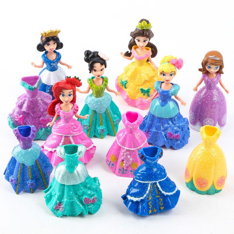 ThinkEasy 18 pcs/set Kid my cute little Anna and Eelsa Sofia Princess 6 dolls + 12 dress Toy Action poni Unicorn vinyl dolls