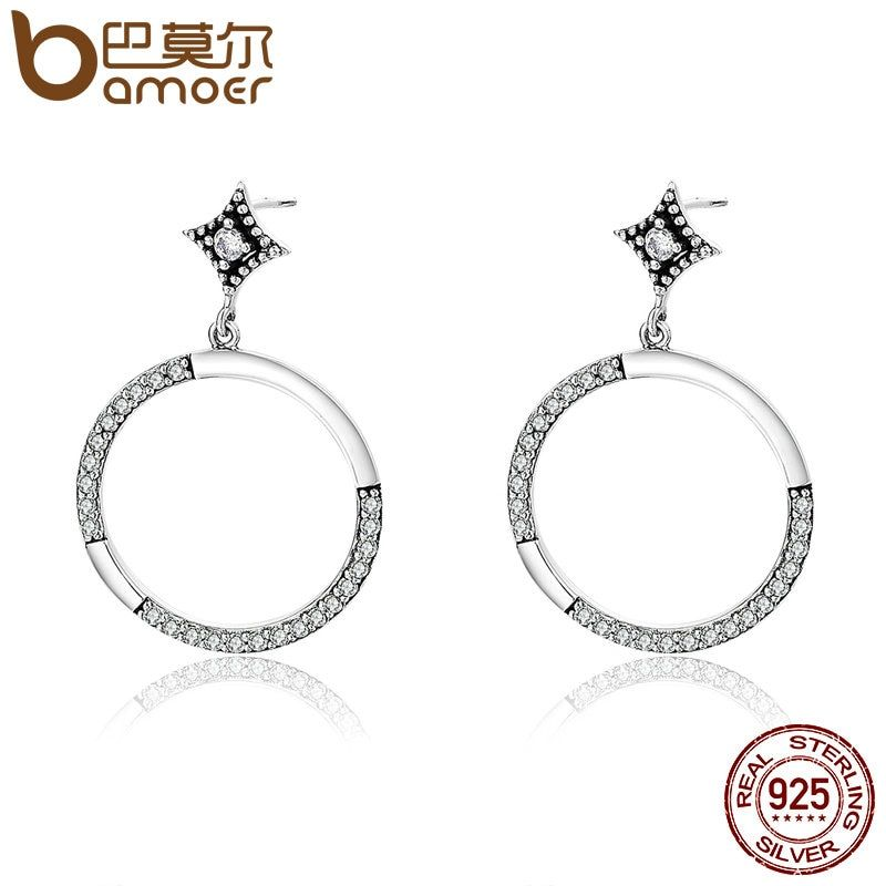 BAMOER Authentic 925 Sterling Silver Brightest Star Sparking Circle CZ Drop Earrings for Women Sterling Silver Jewelry SCE200