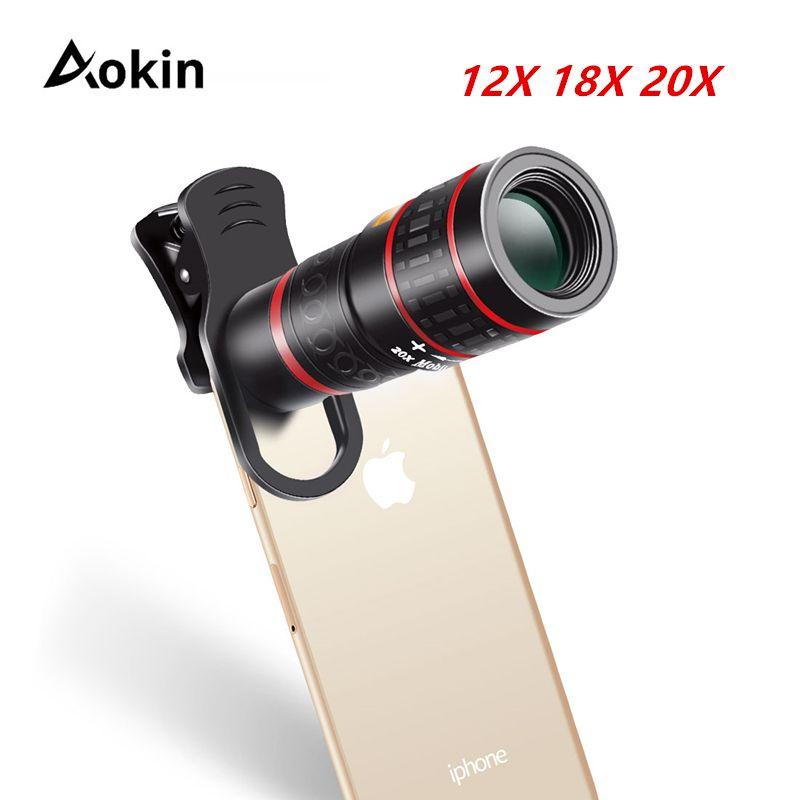 Aokin lentille de téléphone portable Clip universel 18X 20X Zoom téléphone portable télescope lentille téléobjectif Smartphone caméra lentille pour iPhone Xiaomi