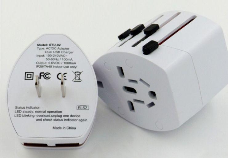 Global conversion plug Multifunction Dual usb travel charger