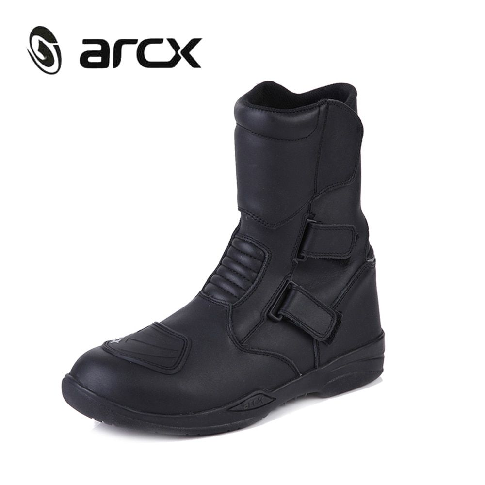 ARCX Genuine Cow Leather Motorcycle Riding Boots Waterproof Motorbike Chopper Cruiser Touring Street Moto Racing Mid-Calf Shoes