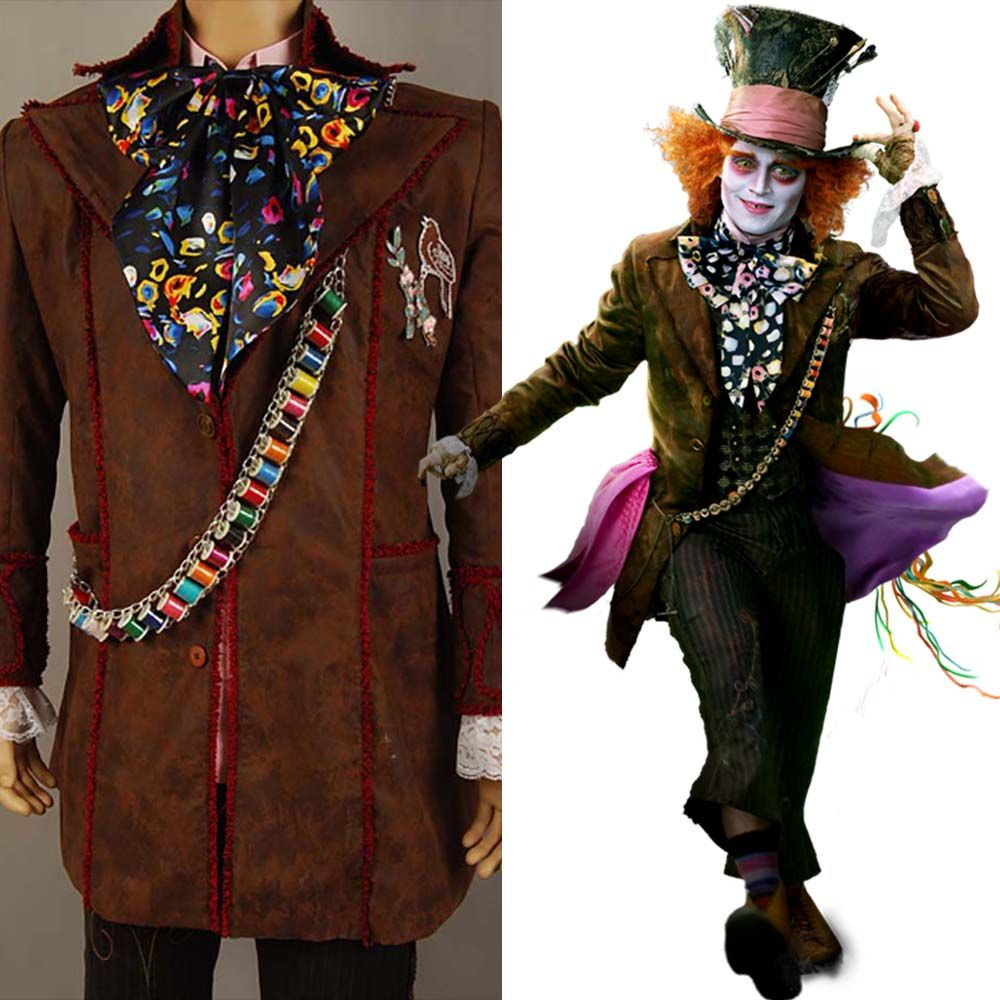 Johnny Depp as Mad Hatter Outfit Alice In Wonderland Jacket Pants Tie Halloween Cosplay Costume For Adult Men full set costume