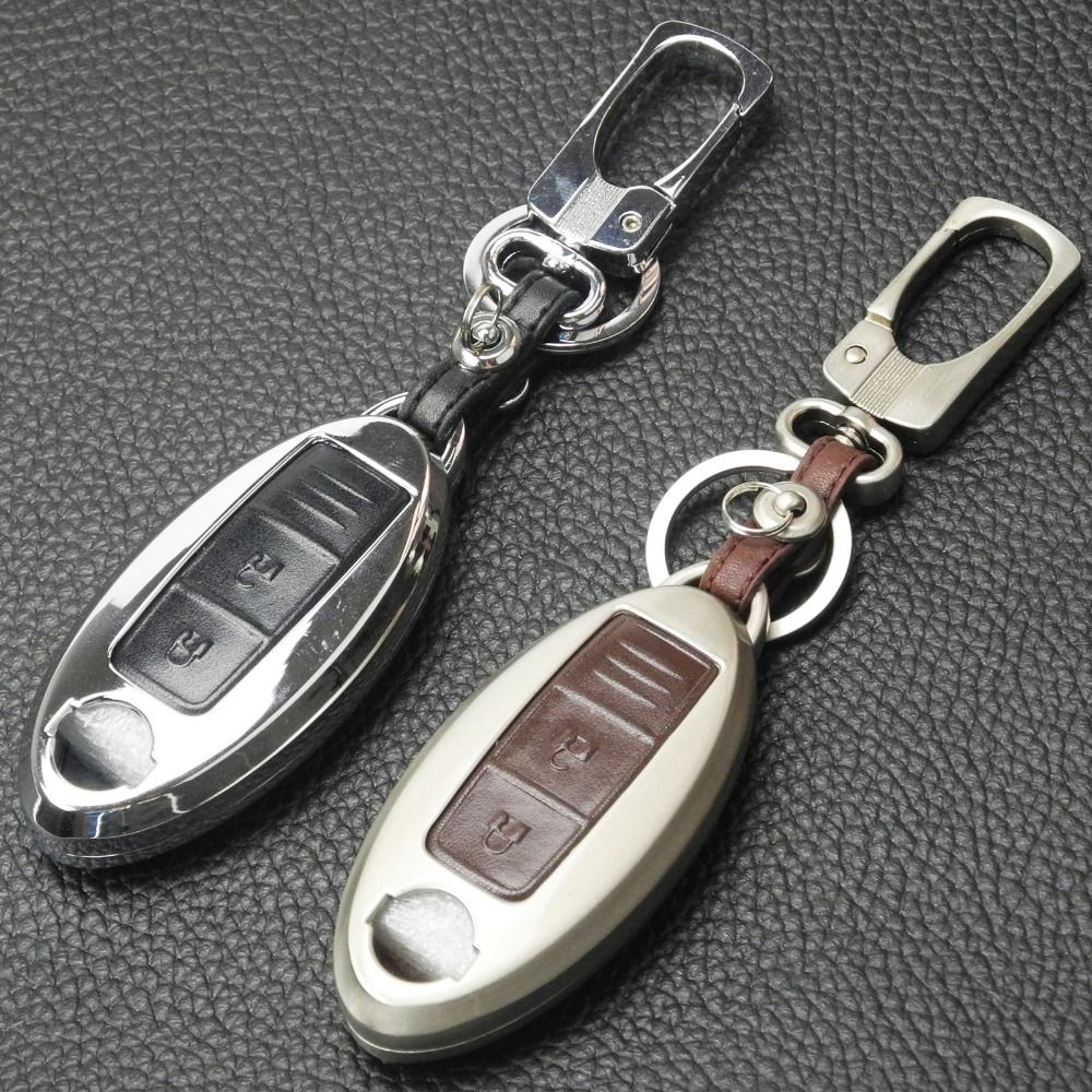 jingyuqin Zinc Alloy+Leather Car Key Cover Case For Nissan Teana X-Trail Qashqai Note Livina Sylphy Tiida Sunny Murano