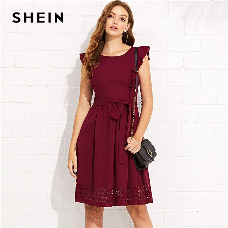 SHEIN Maroon Elegant Ruffle Shoulder Flounce Trim Laser Cut Out Hem <font><b>Belted</b></font> Natural Waist Dress Summer Women Weekend Casual Dress