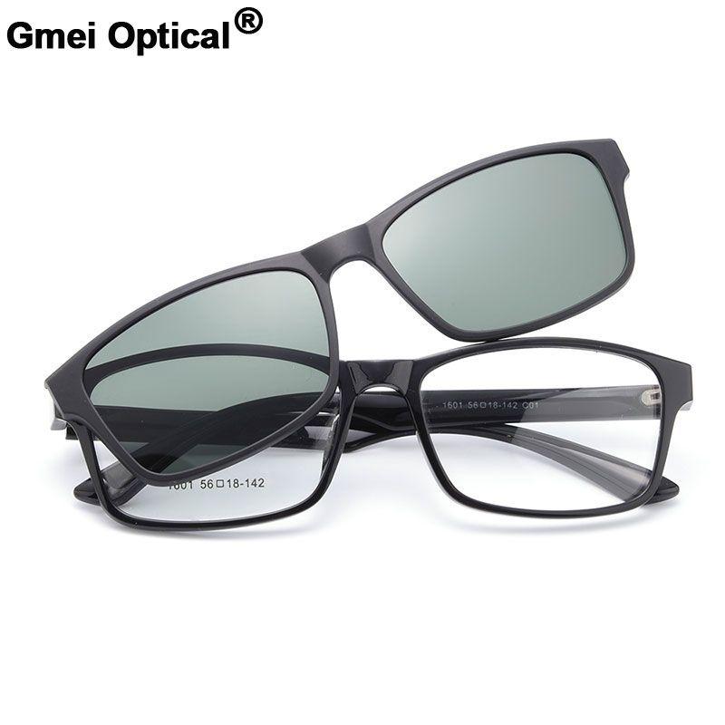 Gmei Optische 1601 Urltra-light TR90 Brillen Rahmen mit Polarisierte Clip-on Sonnenschirme für Frauen und Männer Brillen