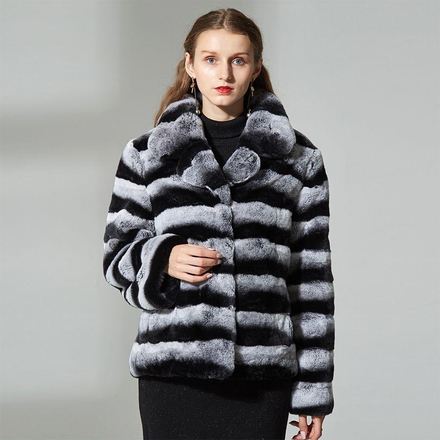 rex rabbit chinchilla real fur coat sliver fox fur jacket with chinchilla color turn down collar lapel 2018 new short style