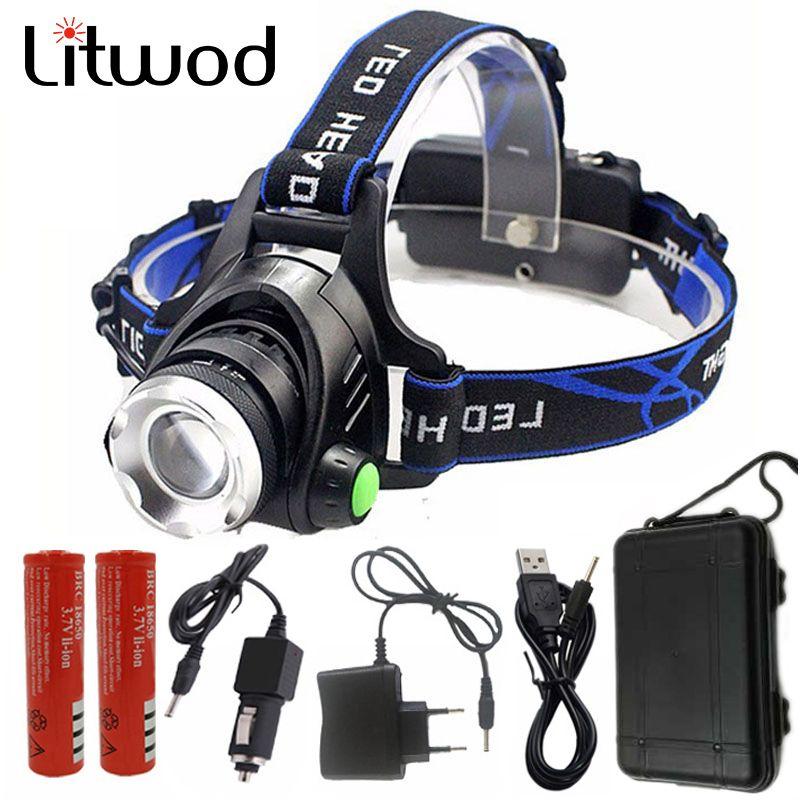 Litwod 568D Led-scheinwerfer Aluminium XM-L L2/T6 Zoom Led-scheinwerfer Kopf Taschenlampe Verstellbare Kopf Lampe 18650 Batterie Vorne licht