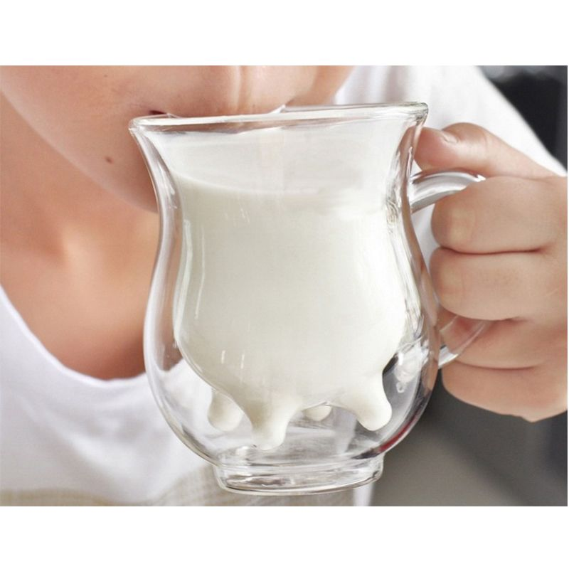 Milk Cup Prototype Double Layer Heat Resistant Transparent Cup Double Glass Cup cow figure