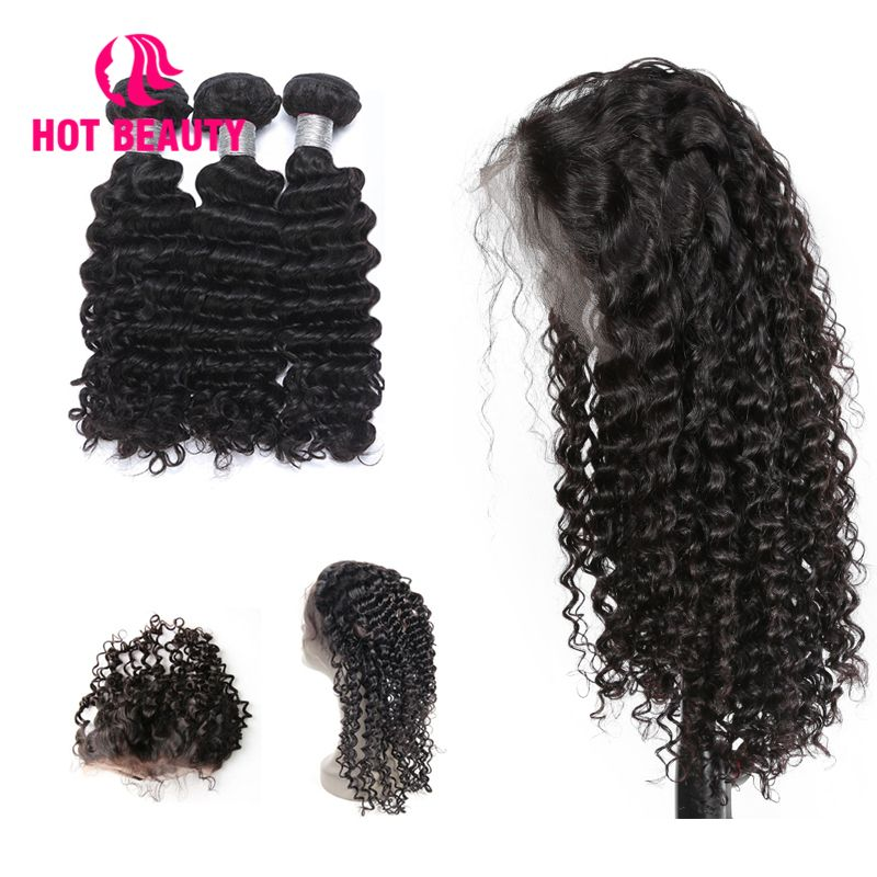 Hot Beauty Hair Free Custom Wigs Pre Plucked 360 Lace Frontal with Bundle Deep Wave Brazilian Human Hair Weave Remy 3 Bundles