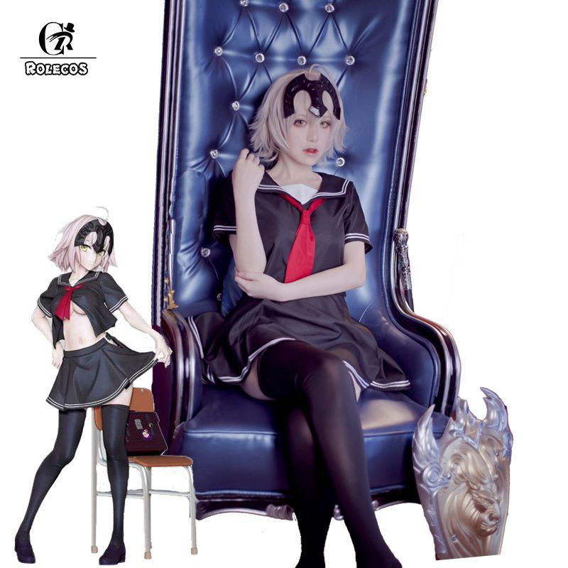 ROLECOS Anime Fate Grand Order Cosplay Costume Fate Apocrypha Jeanne d'Arc Ruler Cosplay Costumes Japanese School Girl Uniform