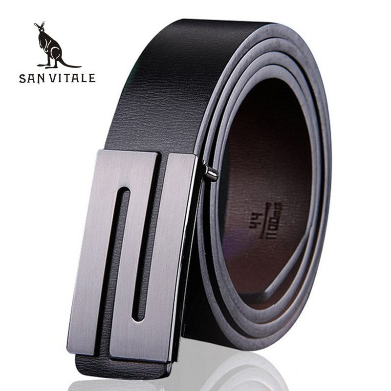 Men Belt Luxury <font><b>Smooth</b></font> buckle belts High quality buckles international famous brand Cowhide leather belts for men free shipping