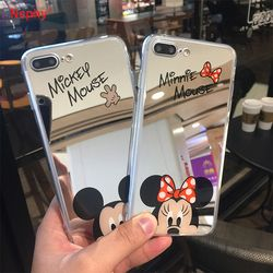 Nephy Minnie Mickey Souris Miroir Cas pour iPhone 6 s 6 S X 10 7 8 Plus 6 Plus 6 sPlus 7 Plus 8 Plus SE 5S Couverture Slim silicone Logement