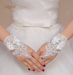 Charming Putih Gading Pernikahan Sarung Tangan Pendek Kristal Beaded Bow Simpul Wrist Panjang Fingerless Lace Bridal Sarung Tangan