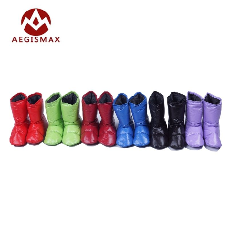 Aegismax Sleeping Bag Accessories White Duck Down Slippers Ultralight Camping Outdoor Soft Sock Unisex Indoor Warm Long Journey