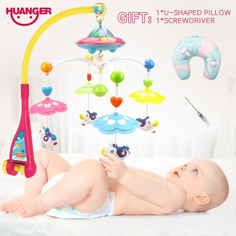 Huanger Musical Crib Mobile Bed <font><b>Bell</b></font> Baby Rattle Rotating Bracket Projecting Toys for 0-12 Months Newborn Kids Christening gift
