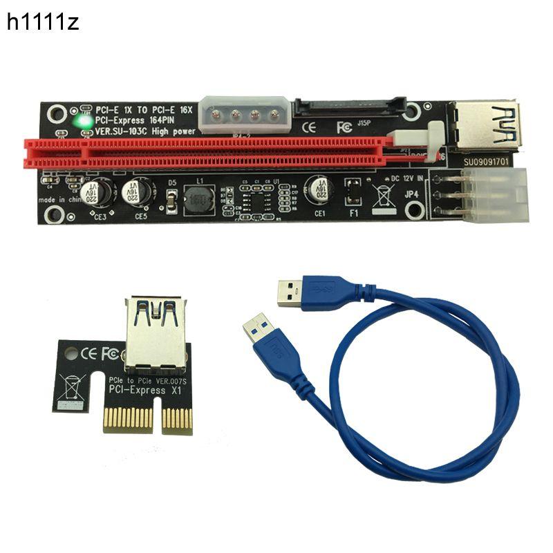 50pcs PCI-E PCI E Express 1X to 16X graphics Riser Extender Card SATA 15 Pin 6 Pin 4 PIN 3 Power Supply With LED light display