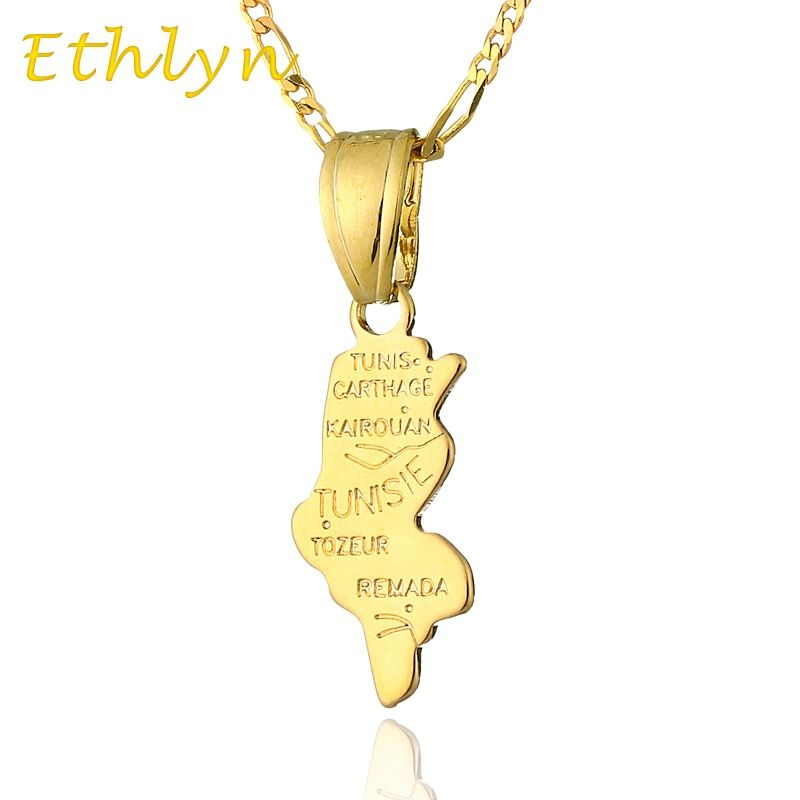 Ethlyn Tunisia Map pendant & necklace for women & men Gold Color Tunisia map fashion birthday /anniversary gift P25
