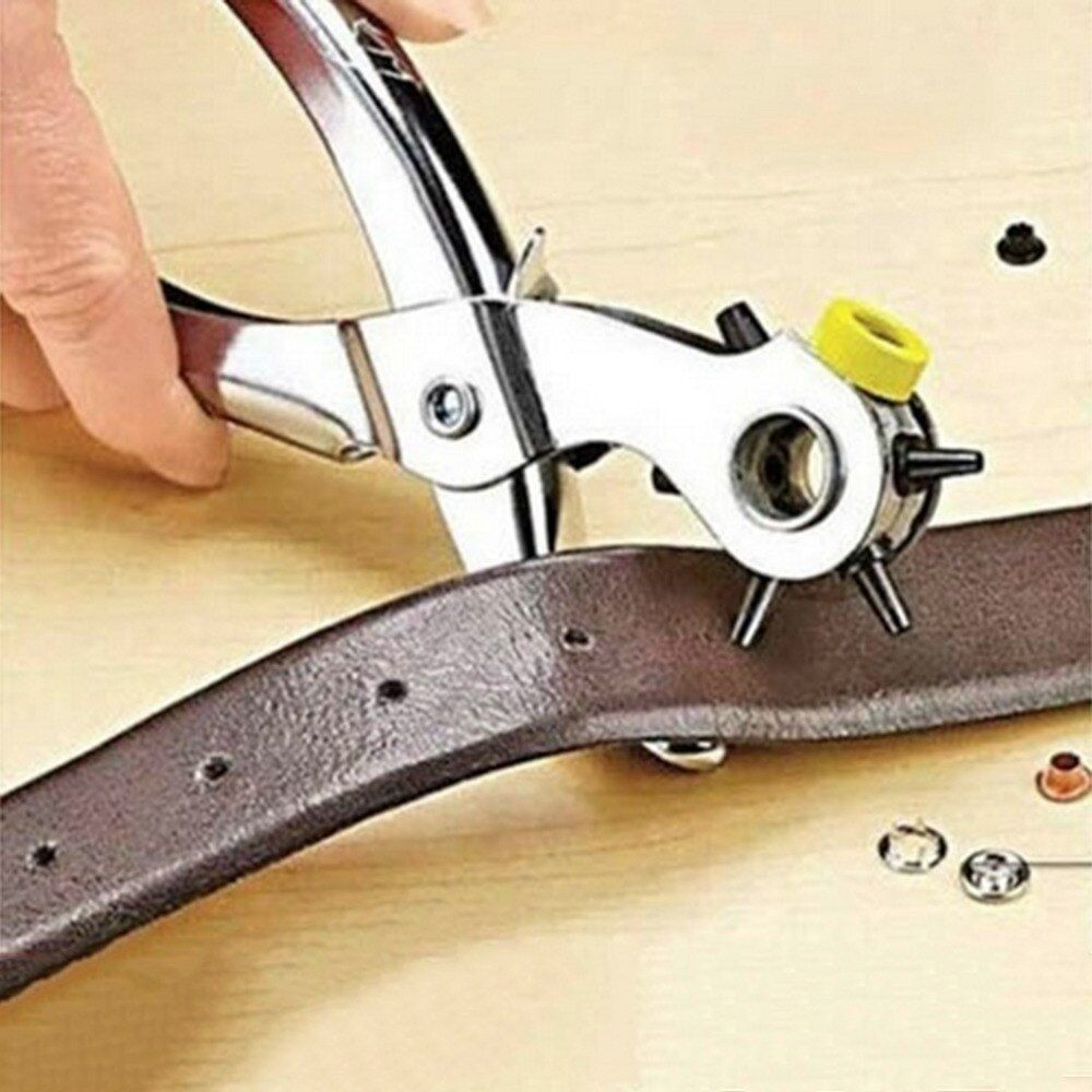 Multi-function Portable Puncher Heavy Duty Leather Hole Punch Hand Pliers Belt Holes Punches