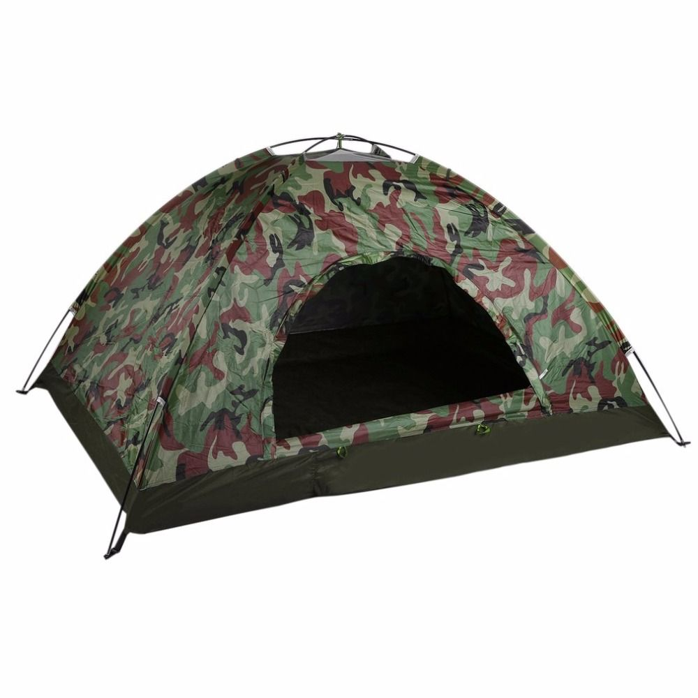 Outdoor Portable Single Layer Camping Tent Camouflage 2 Person Waterproof Lightweight Beach Fishing Hunting Tent Wigwam