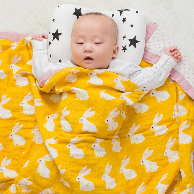 Baby Wrap Organic cotton blanket Multifunctional 2 layer Muslin Baby Newborns Blanket Baby Swaddle Blanket 120*120cm
