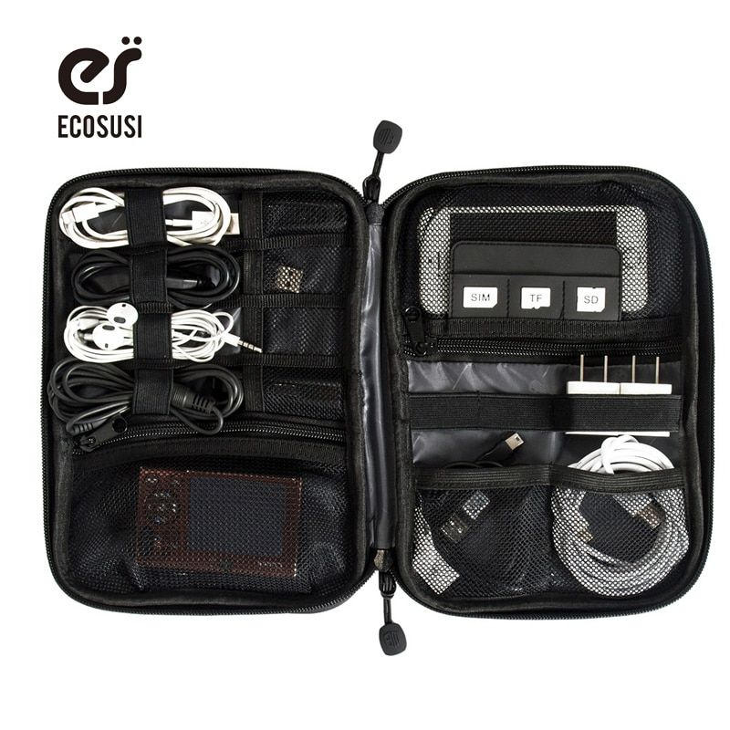 ECOSUSI Electronic Accessories Bag Nylon Mens Travel Accessories For Date Line SD Card USB Cable Digital Device Bag Accessories