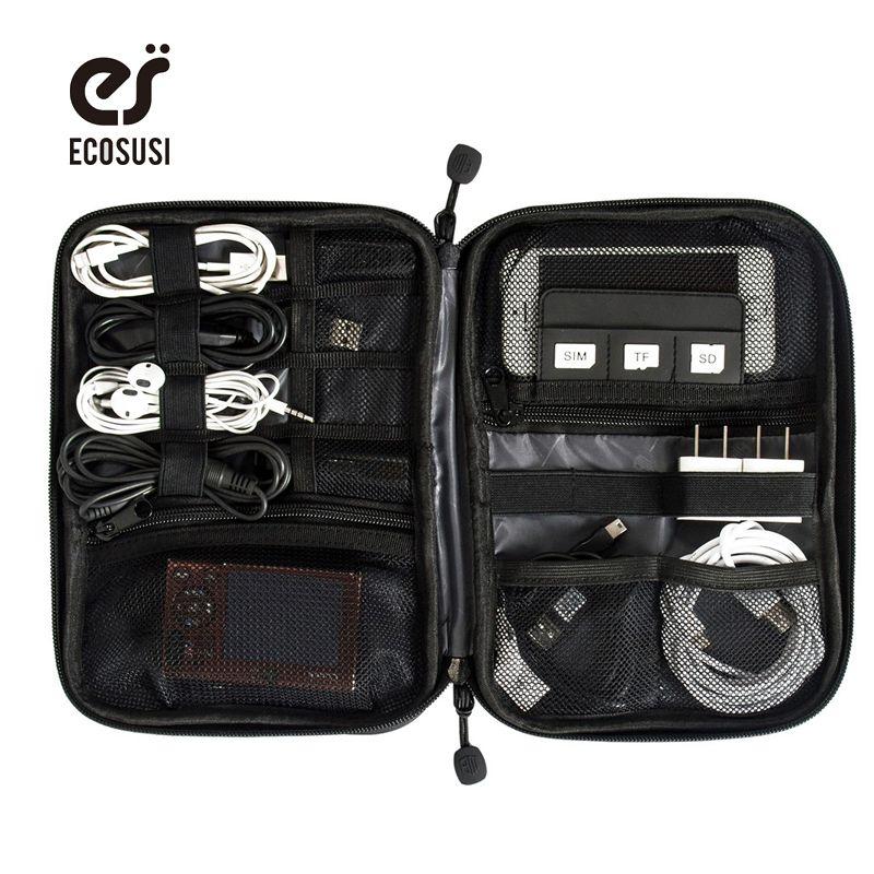 Ecosusi accesorios electrónicos bolsa de nylon para hombre accesorios de viaje para la línea de fecha cable usb tarjeta sd dispositivo de bolsa de accesorios digitales