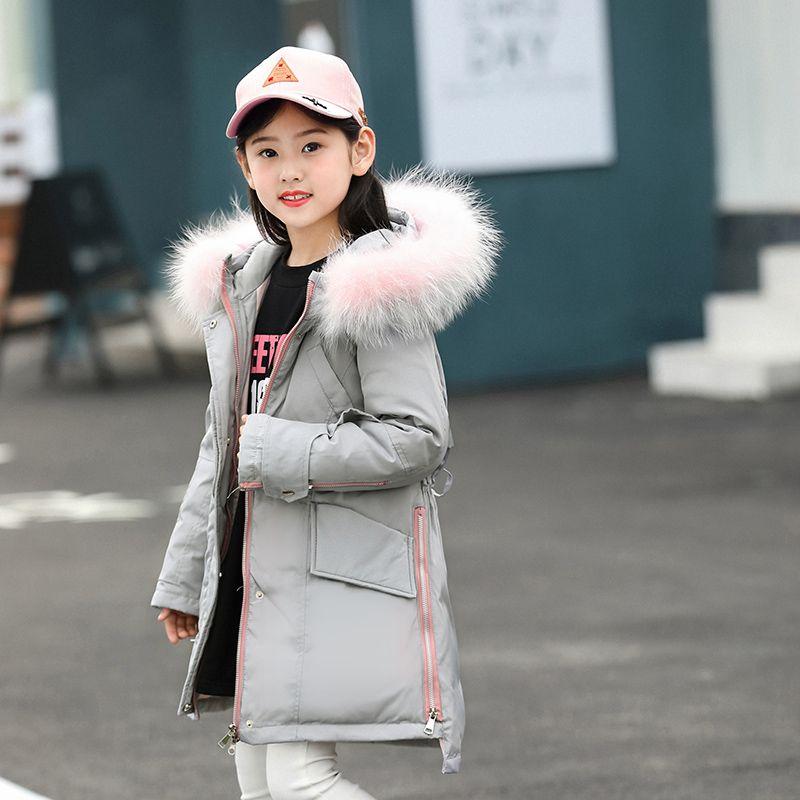 HSSCZL Girls Down Jackets Winter 2018 NewBrand Long Thicken Hooded Natural Fur Collar Parkas Overcoat Girl coat outerwear 5-14A