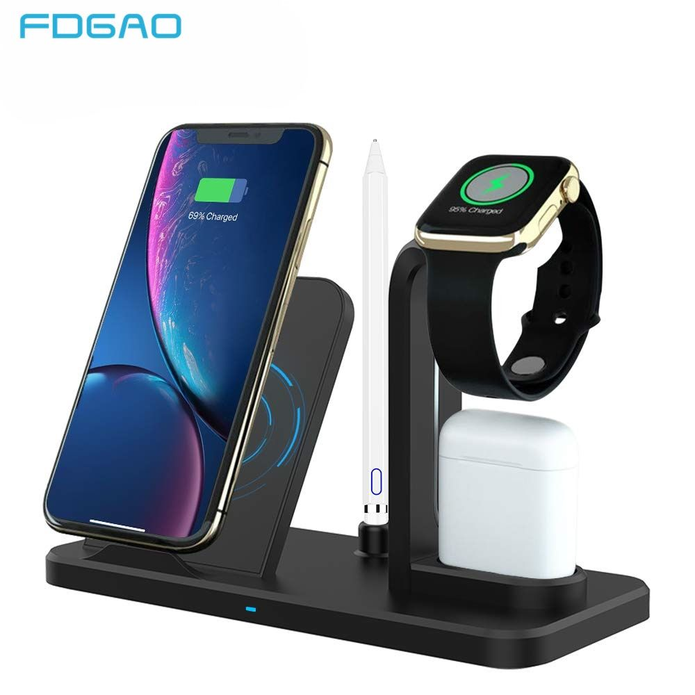 3 in 1 10W Qi Wireless Charger For iWatch Series 4 3 2 AirPods Qi Fast Charging for Apple Watch iPhone XS XR X 8 Samsung S10 S9