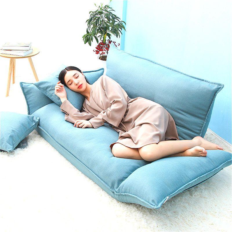 YN50 Cotton fabric Floor mini Sofa Bed 5 Position Adjustable Double Sofa Furniture Living Room Folding Sofa Computer chair
