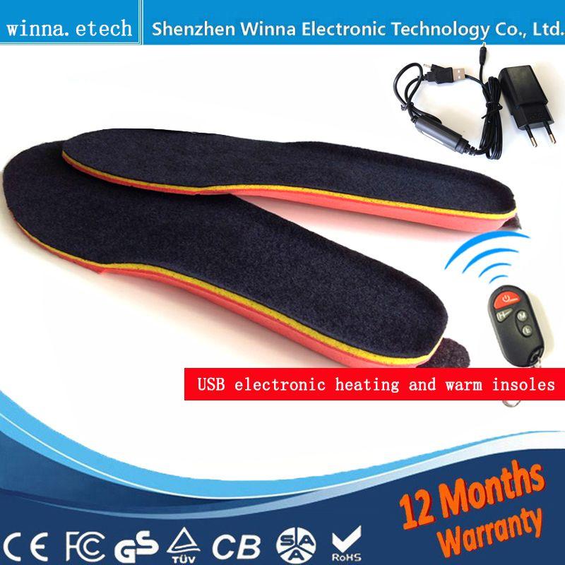 Новый USB Для мужчин Стельки Электрический Утеплитель для ног Дистанционное управление Термальность Стельки 1800 мАч черный Для мужчин's 41-46 # к...