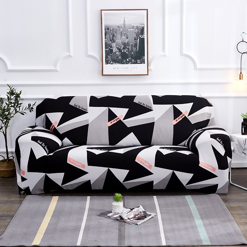 Noir blanc gris 1/2/3/4 places housse de canapé serré wrap tout compris sectionnel élastique siège canapé couvre canapé housse