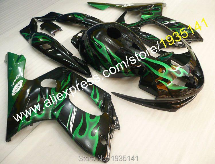 Hot Sales,For Yamaha Yzf600R Thundercat 1997-2007 YZF-600R 97-07 Yzf 600R black body green flame sport Motorcycle Fairing Kit