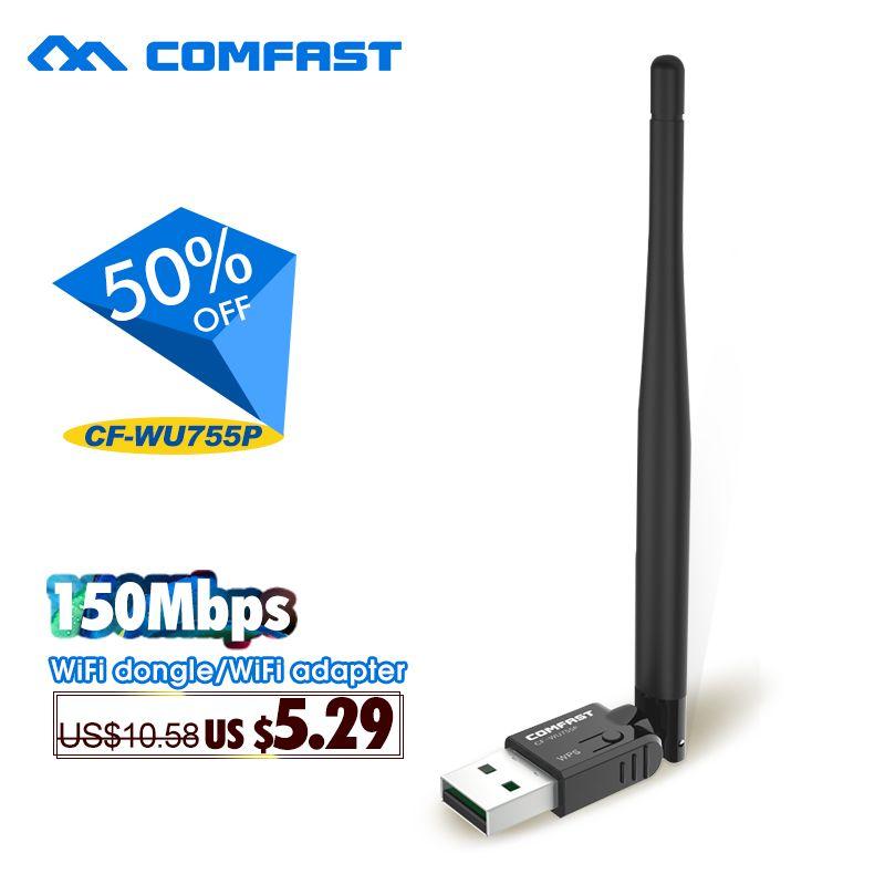 150 Mbps Adaptateur Sans Fil COMFAST USB Carte réseau 802.11n 2.4G RTL 8188EUS wifi Adaptateur AJOUTER wifi antenne CF-WU755P wifi Dongle