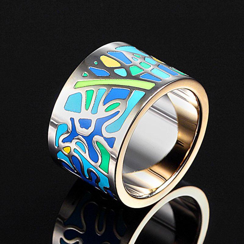 Brillant femmes Esmalte émail anneaux marque en acier inoxydable Bijoux femmes Anel Aneis Bijoux anneaux à la mode femmes anneau de doigt Bijoux