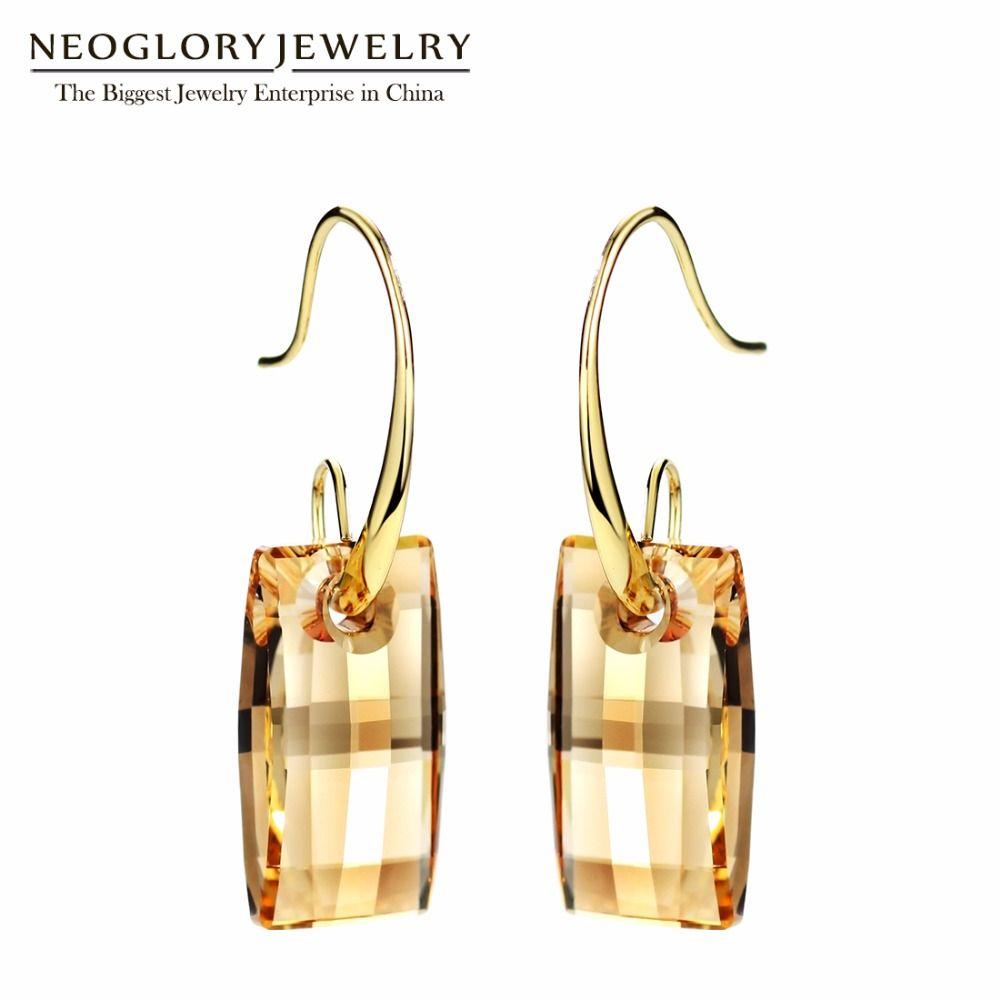 Neoglory lustre crochet longue grande boucles d'oreilles pour les femmes 2019 demoiselle d'honneur embelli avec des cristaux de Swarovski