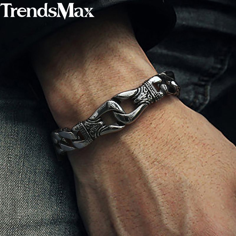 Men's Bracelet 316L Stainless <font><b>Steel</b></font> Curb Cuban Link Bracelet Totem Knot Charm Wristband Fashion Gift Jewelry Dropshipping HB10