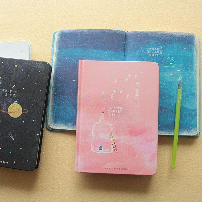 Tendance créative couleur Pages A5 cahier petite maison bleue journal livre relié journal corée papeterie fournitures scolaires