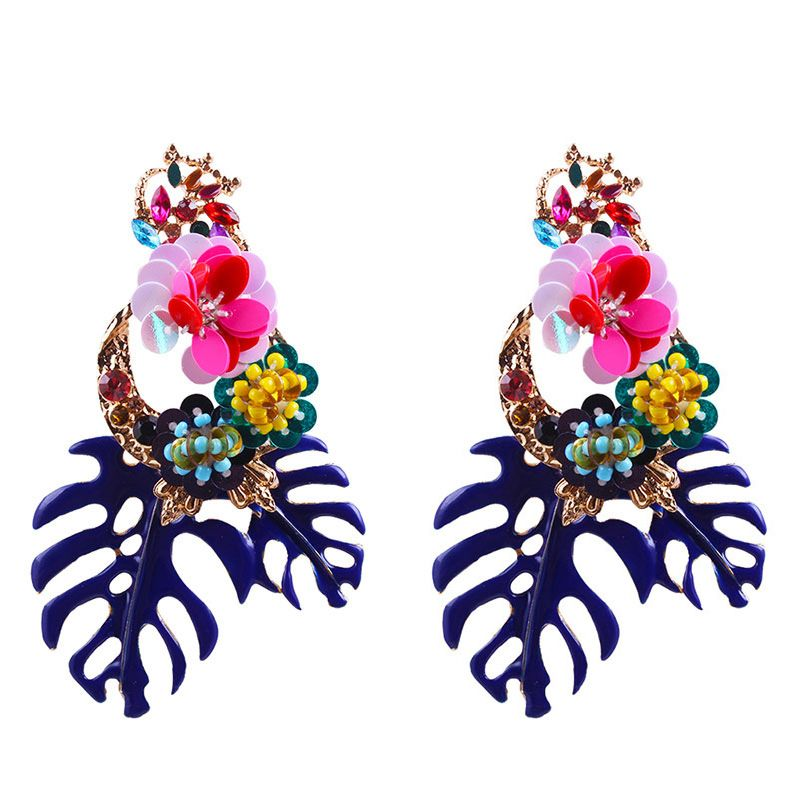 Baroque style women trending banana tree long resin earring