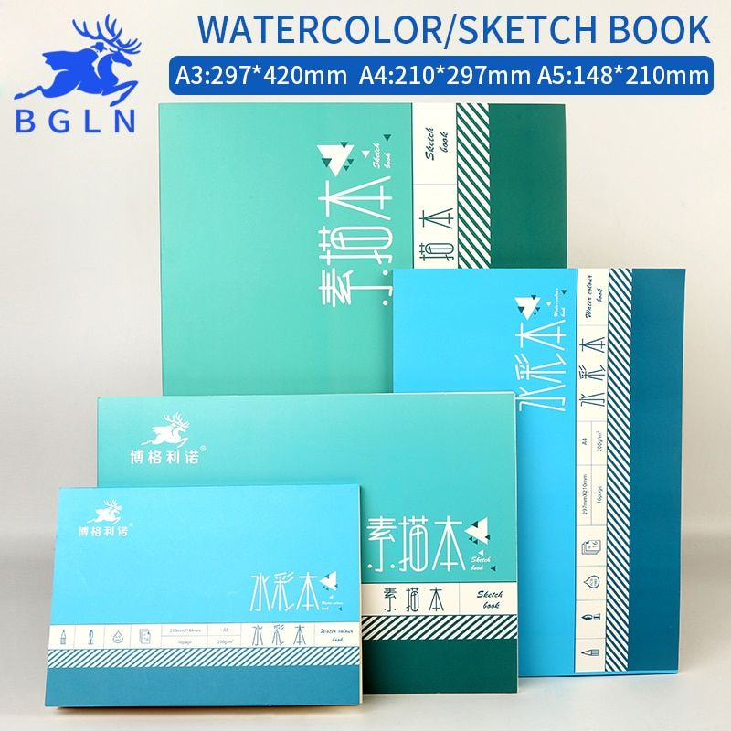 Bgln 1Pcs Professional Watercolor/Sketch Paper 16/32Sheets Hand Painted Water-soluble Book Creative Office School Art Supplies