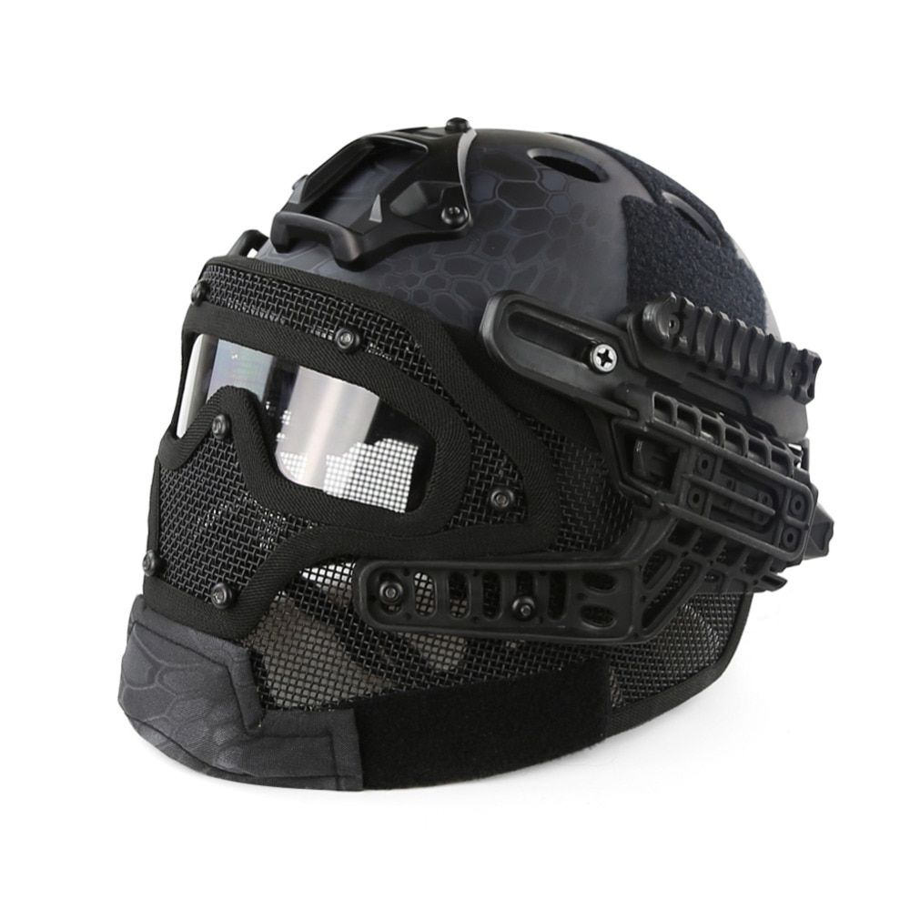 Tactical Helmet G4 System Set PJ Airsoft Helmet Overall Protect Glass Face Mask Goggles for Military Paintball War Game