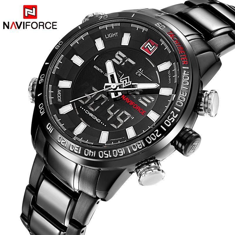 Watches Men Naviforce Luxury Brand Fashion Men Military Sports Watches Men's Quartz LED Hour Clock Male Full Steel Wrist watch
