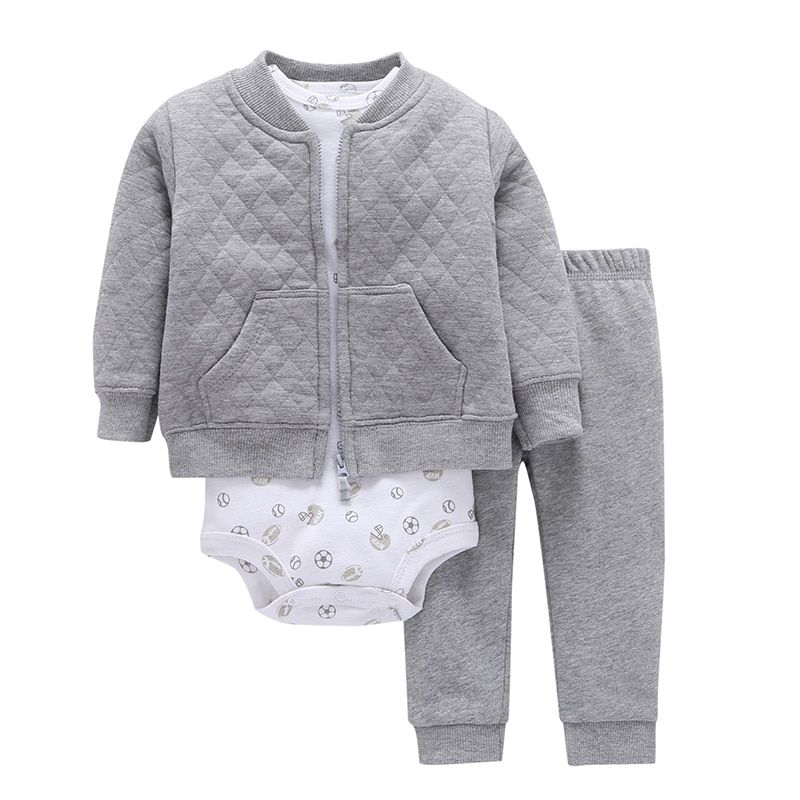 2017 New Special Offer Full 3pcs/set Baby Boy Clothes Sets Long Sleeved Coat&cartoon Pattern Romper&pants Clothing Set Children