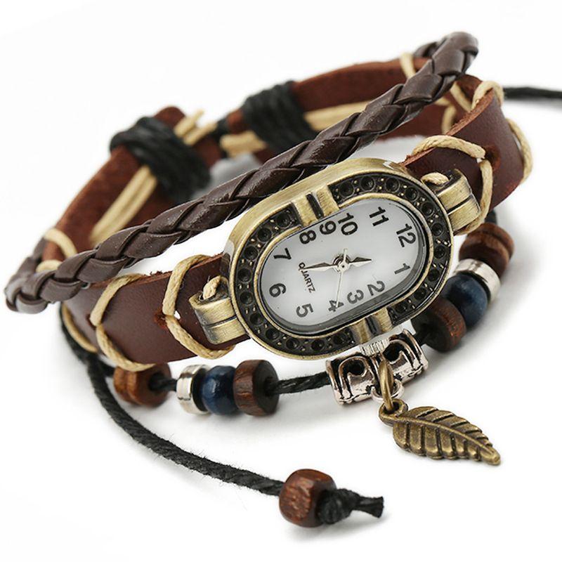 Gnova Platinum Top Cuero auténtico reloj pulsera mujeres encanto hoja mariposa étnica estilo Ginebra Urban Girl moda dama a334