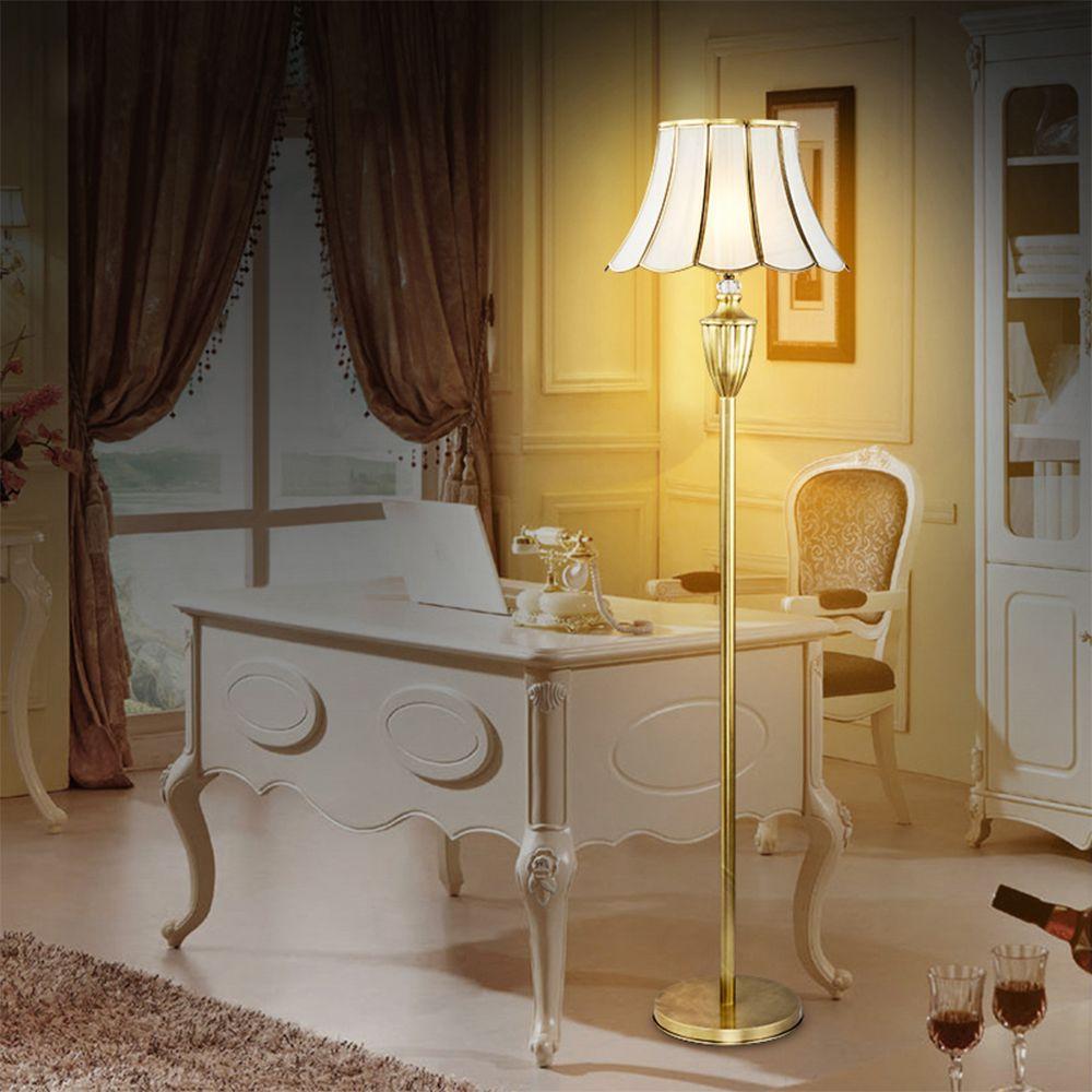 European Floor Lamps LED Luminaria American Retro Style Iron Modern Floor Lamps for Living Room Copper Art Floor Lamp Luminarias