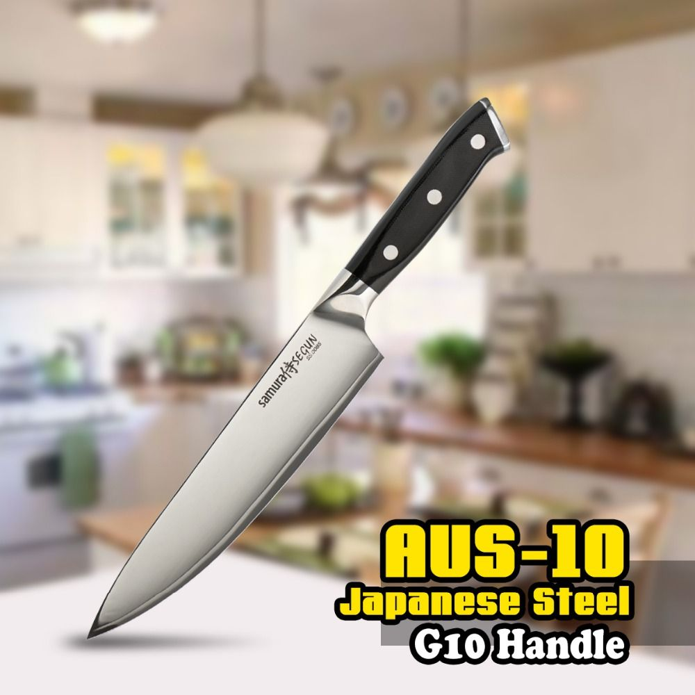 Chef Knife Japanese Stainless Steel 3 Layers AUS-10 SS-0085 8 Inch (203mm) G10 Black Handle Kitchen Blade Chop Cutting