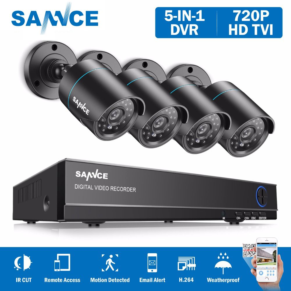SANNCE 8CH 1080N DVR 720P CCTV System 4pcs 720P 1MP Security Cameras IR outdoor IP66 Video <font><b>Surveillance</b></font> kit motion detection