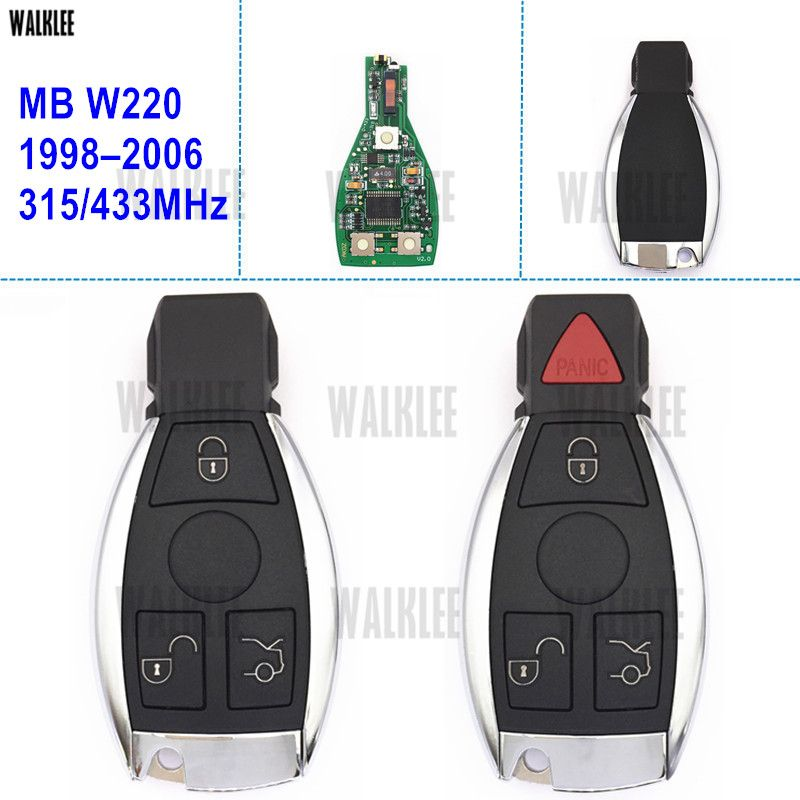 WALKLEE Clé Intelligente À Distance pour Mercedes Benz S-CLASS W220 S280 S320 S350 S400 S430 S500 S600 S55 S65 CDI
