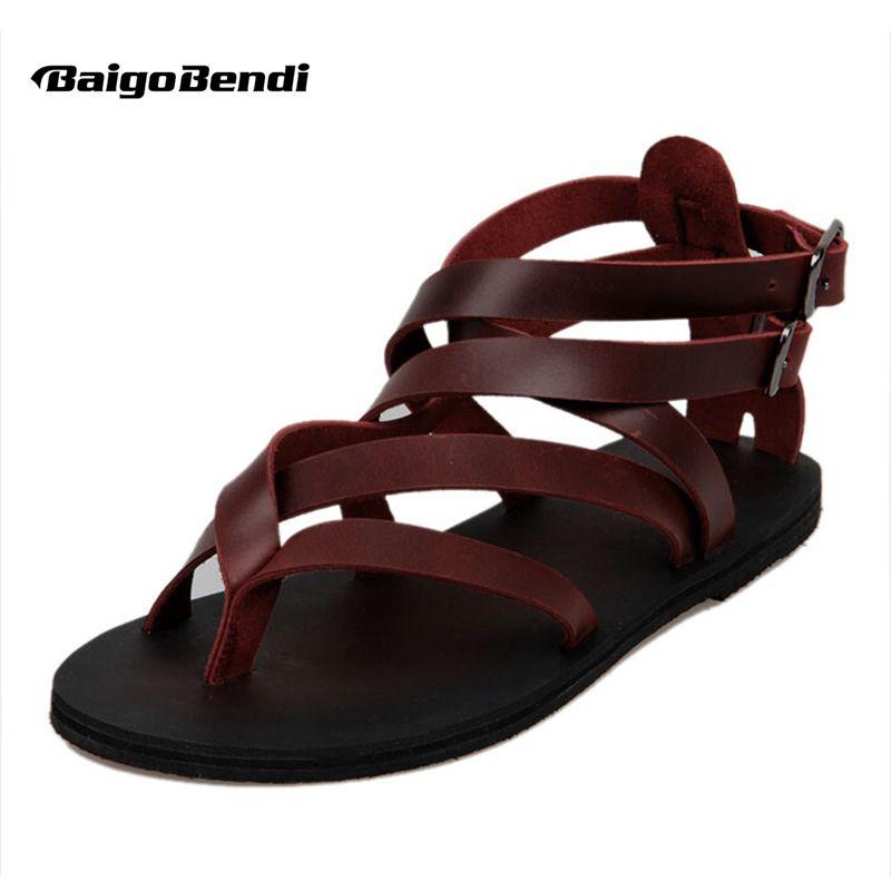 Décontracté été plage cuir bride à la cheville croisé gladiateur tongs chaussures Roman t-strap Flip Flop hommes sandales