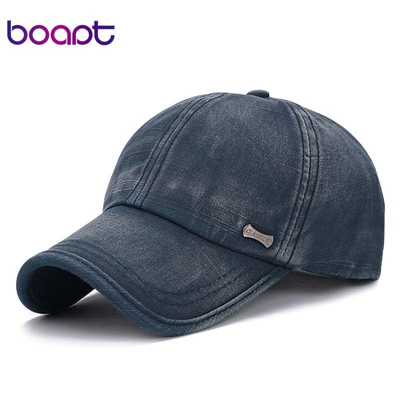 [boapt] classic fashion metal label cotton men baseball caps summer snapback cap unisex vintage sun hat man fashion women hats